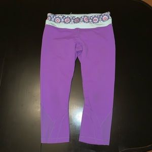 Lululemon purple running crops + geometric band 10